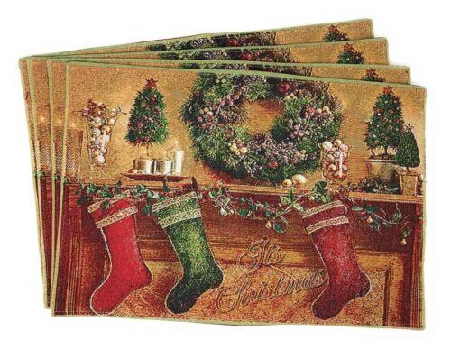 Tache 4 PC Festive Winter Holiday Christmas Xmas Woven Placemats Table Linen Mat