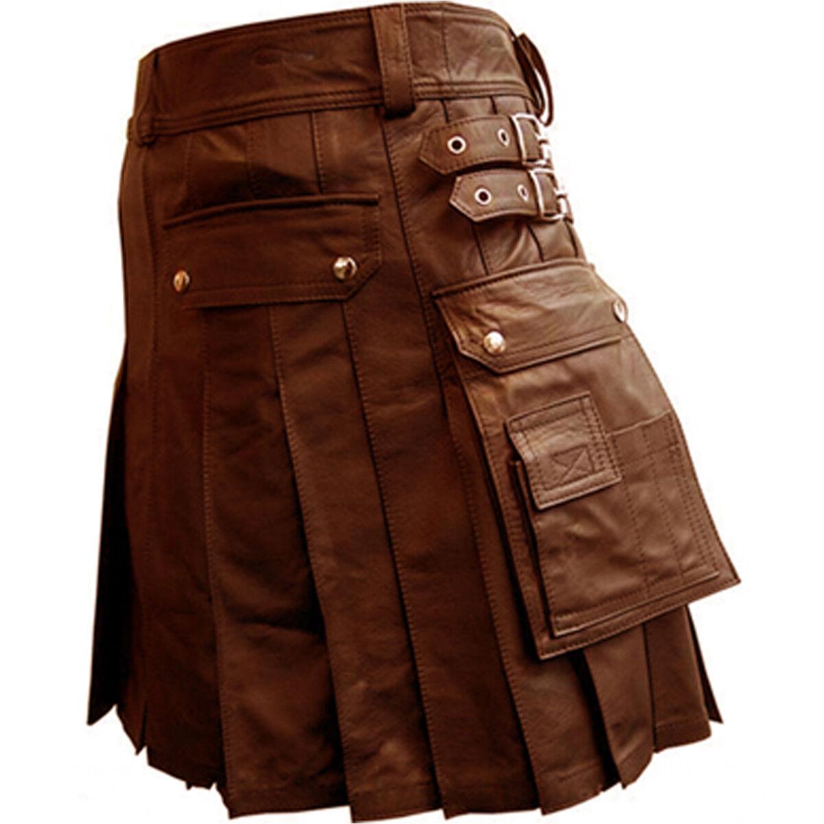 Men REAL Brown Leather Gladiator Pleated Utility LARP Kilt