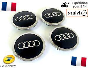 4x-Cache-Moyeu-Centre-Roue-Enjoliveur-Embleme-Jante-Logo-insigne-Audi-69MM-Noir