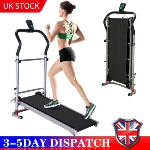 Folding Manual Treadmill working Machine Cardio Fitness Exercise Incline GYM