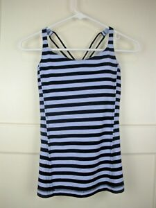 aa0c91b8e1fc2 Lululemon Blue Black Stripped Tank Top Shelf Bra Athletic Running ...