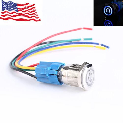 2x 19mm 12V Car Blue LED Metal Push Button Toggle Switch Socket Plug For Car US