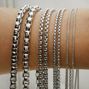 "2-6mm Stainless Steel Black/&Silver Round Box Chain Necklace Men Women 18-36/"""
