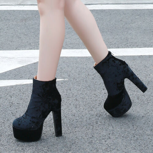 Womens High Heel Block Platform Ankle Boots Ladies Round Toe Party Shoes Size2-9
