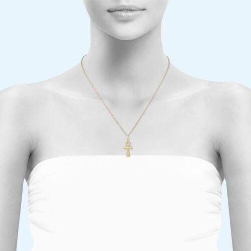 14K Solid Yellow Gold Ankh Cross Pendant Egyptian Necklace Charm Men Women