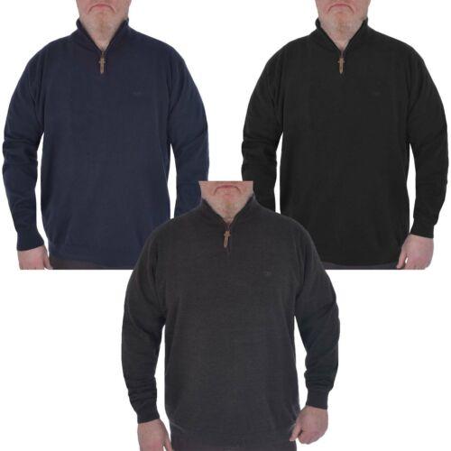 Duke D555 Homme Big Tall grand format Chuck 1//4 encolure zippée Plain Top Pull Sweater