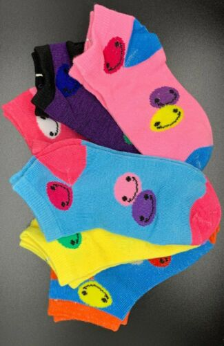 6-8 12 Pack Girls Kids Patterned Solid Colored Playful Socks Sizes 4-6