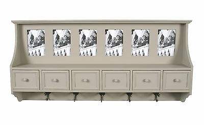 French Grey COAT RACK coat hooks shelf + photo frames. shabby / chic belgravia