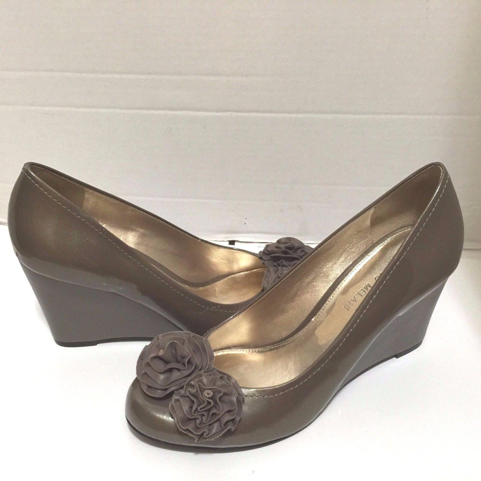 Antonio Melani Taupe Patent Leather Wedge Pump Shoes 10