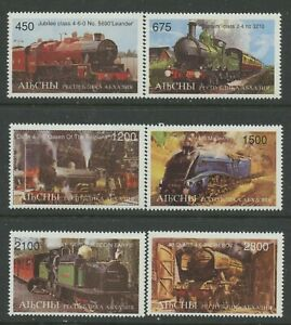 Trains-mnh-set-of-6-stamps-Abkhazia-Steam-locomotives-railroad
