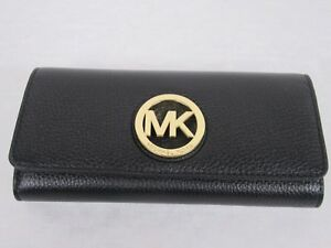 54a5cf91e1ad Michael Kors Black Leather MK Gold Logo Fulton Flap Continental ...