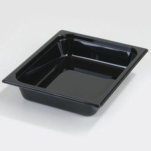 "Half x 2-1//2/"" Size Carlisle Black Food Pans"
