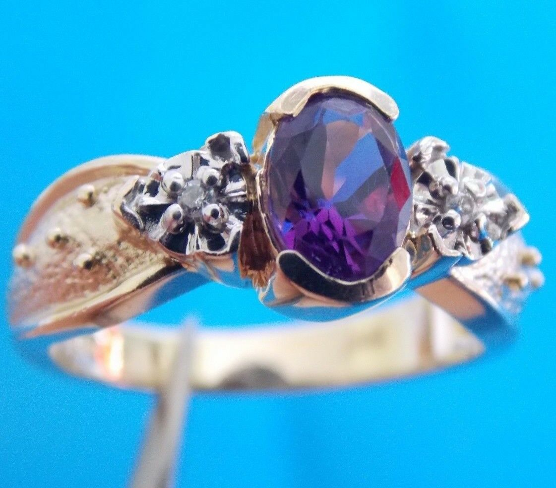 BEAUTIFUL VINTAGE 14K SOLID gold AMETHYST DIAMOND   RING SIZE 6