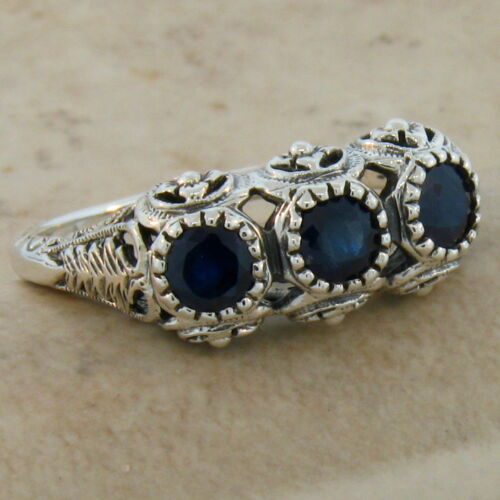 GENUINE SAPPHIRE ANTIQUE STYLE .925 STERLING SILVER FILIGREE RING #116