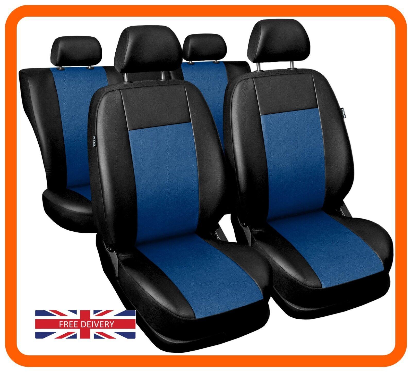 Seggiolino Auto Copre Completo Set Adatto BMW serie 7 in ecopelle neroblu