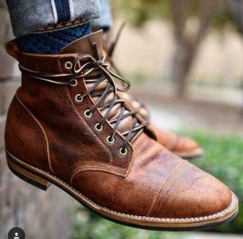 Men/'s Ankle Boots Leather Retro Combat Lace Up Military Army Biker Shoes S Ths01