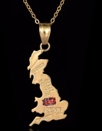 Quality Gold Great Britain Necklace Map GB Pendant United Kingdom Flag UK Seller