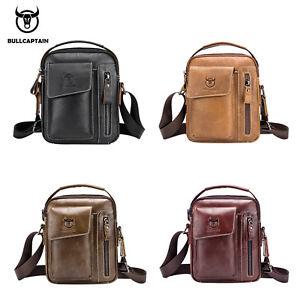 BULL CAPTAIN Genuine Leather Crossbody Bags Men s Shoulder Messenger ... 7519e2df35