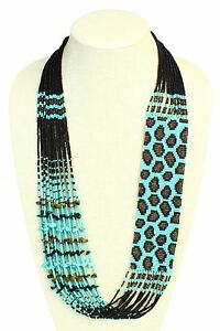NE702-139-Exotic-Turquoise-Glass-Leopard-Skin-Hand-Beaded-Necklace-Seed-Artisan
