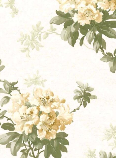 Wallpaper Yellow Floral With Vine on White & Gold Faux