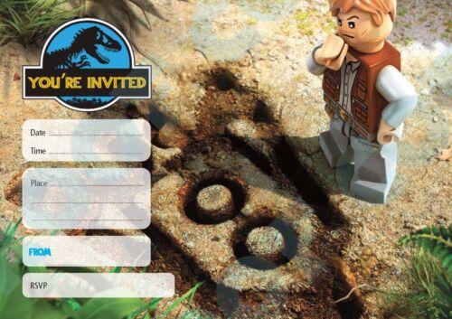 #90 Jurassic Park LEGO Pied Pack de 10 enfants fête d/'anniversaire Invitations
