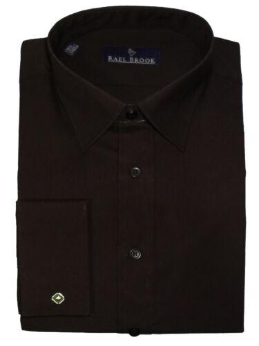 Rael Brook Mens Formal Plain Double Cuff Dress Shirt in Black