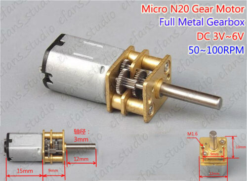 Mini N20 Gear Motor DC 3V-6V 50-100RPM Full Metal Gearbox Speed Reduction Motor