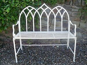 Image Is Loading Cream Gothic Design Folding Metal Garden Bench