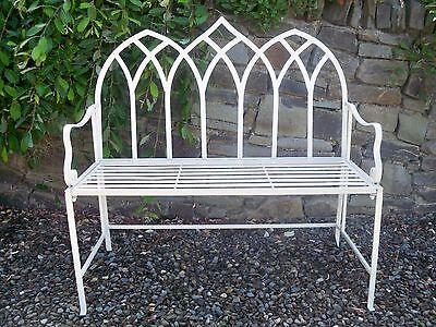 Cream gothic design folding metal garden bench