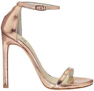 Stuart Weitzman Nudist Rose Gold Ankle Strap Heels Sandals $398 ...