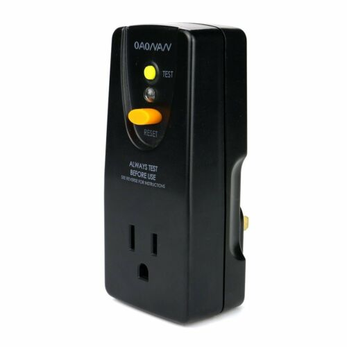GFCI Adapter Portable Receptacle 15Amp with One Outlet and Male Plug Black