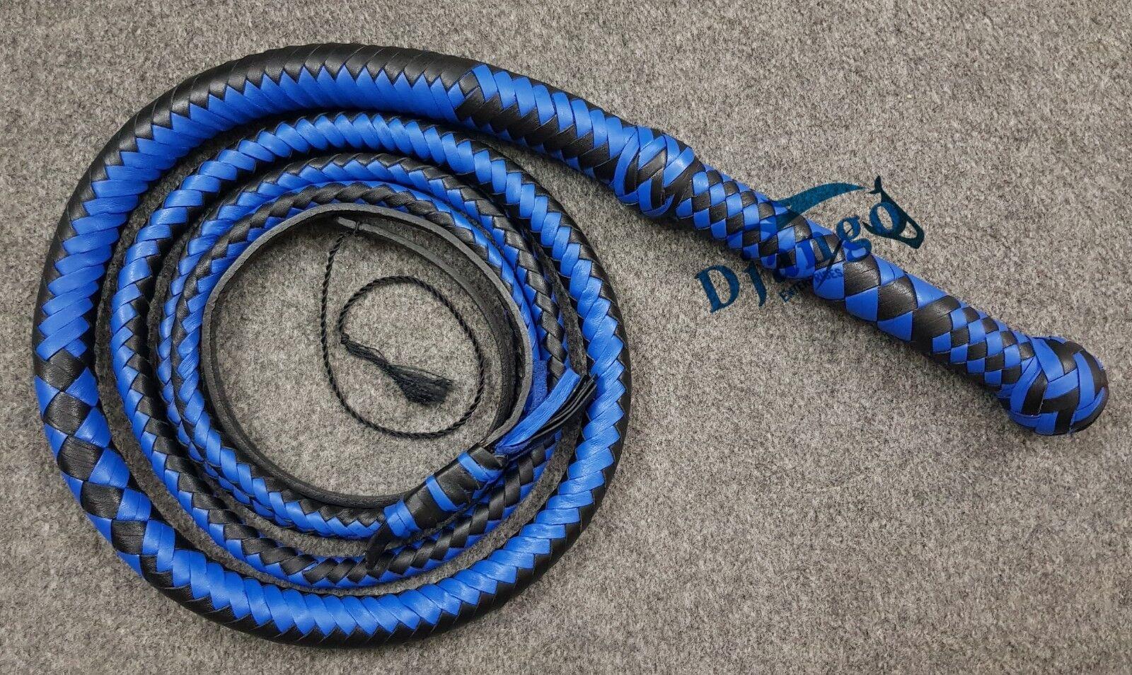 8 pies de largo 12 trenzas Azul Y Negro Real Cuero de grano superior Heavy Duty látigo de toros