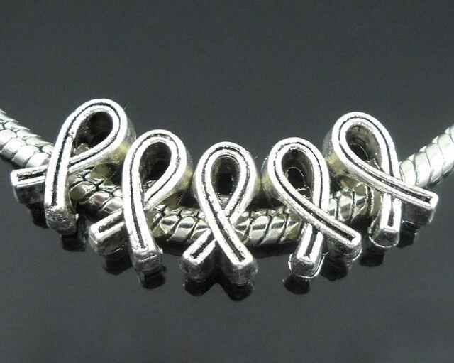40pcs Tibetan Silver Ribbon Beads Big Hole Fit European Charm Bracelet ZY172
