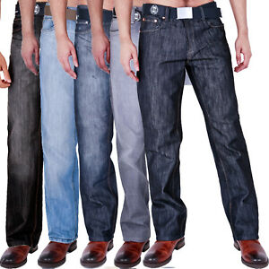 MENS-CLASSIC-FIT-JEANS-STRAIGHT-LEG-WITH-BELT-28-40-42-44-46-48-50-52-54
