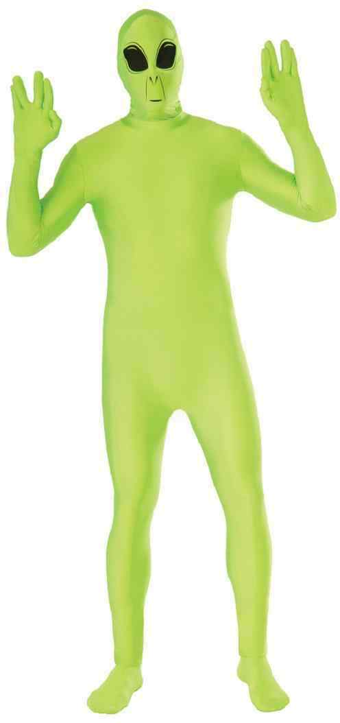 Alien Space Disappearing Man Invisible Green Fancy Dress Halloween Adult Costume