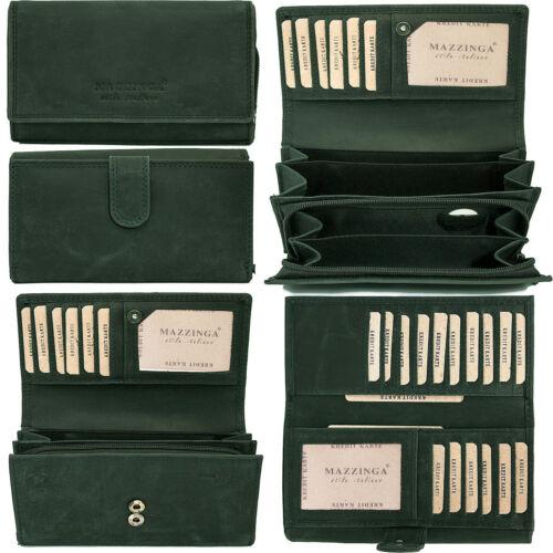 Damen Leder Geldbörse Geldbeutel Luxus Büffelleder Schwarz Braun Grün Fächer
