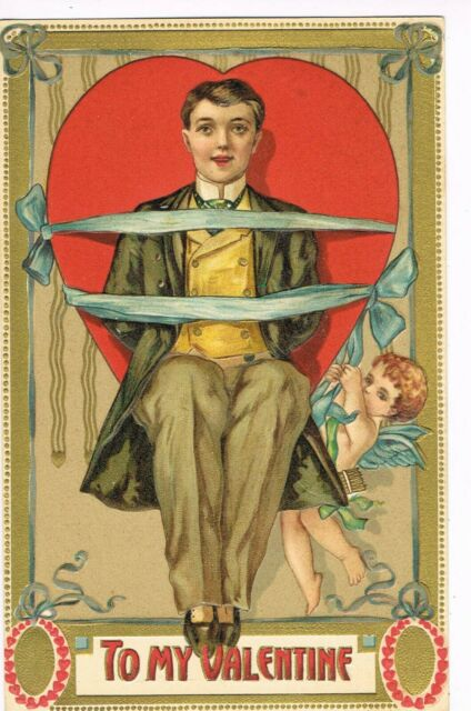 ANTIQUE EMBOSSED VALENTINE Postcard    MAN BOUND TO HEART WITH RIBBON, CUPID