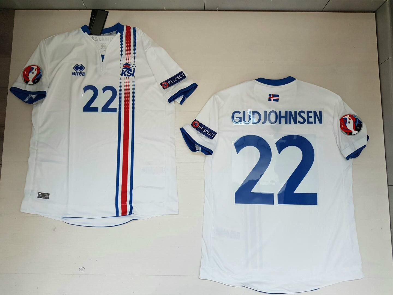 GUDJOHNSEN ISLANDA ICELAND Ísland  MAGLIETTA JERSEY SHIRT EURO 2016 PATCH W