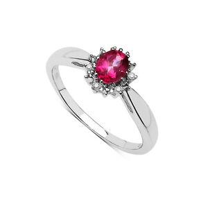 Plata-de-Ley-Topacio-Rosa-amp-Anillo-Pedida-Diamante-Cluster-Tamano-Ijklmnoqrstuv