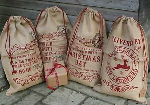 Vintage-Chic-Hessian-Jute-Father-Christmas-Present-Gift-Bag-Santa-Sack-Stocking