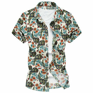 Men Floral Shirts Short Sleeve Summer Slim Fit Button Down