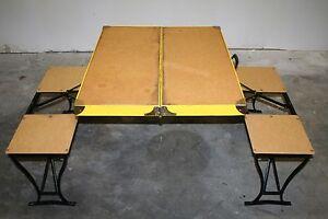 Vintage Handy Folding Picnic Table Chair Set Camping Metal