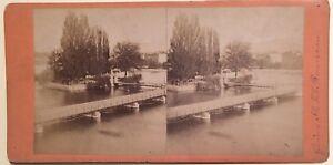 Geneve Isola Rousseau Suisse Foto Stereo Vintage Albumina c1870