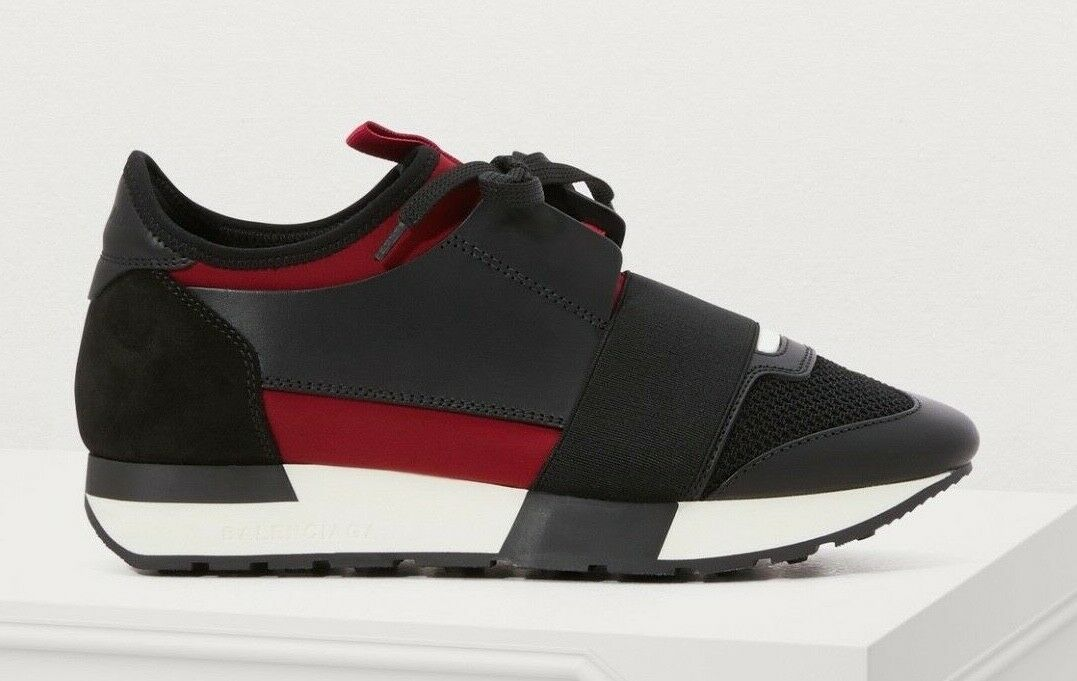 NIB Balenciaga Womens Race Runner Black Red Lie Lie Lie De Vin Leather Speed Sneaker 35 ff7a04