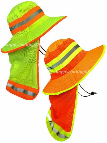 Men High Visibility Reflective Safety Boonie Hat W Neck Flap Wide Brim Sun Hat