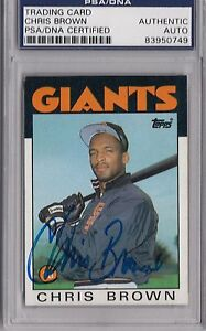 Chris Brown Signed Autographed 1986 Topps PSA/DNA *0749 ...