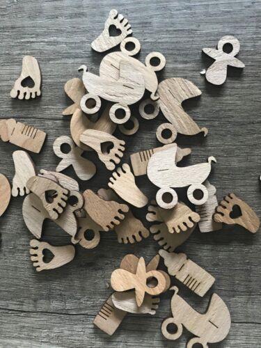 50 Streudeko Holz Teile Tischdeko Baby Schnuller Füßchen Geburt Taufe Deko Set