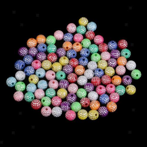 100x Harz Kristall Perlen Schmuckzubehör dekorative Perlen 8mm Mischfarbe