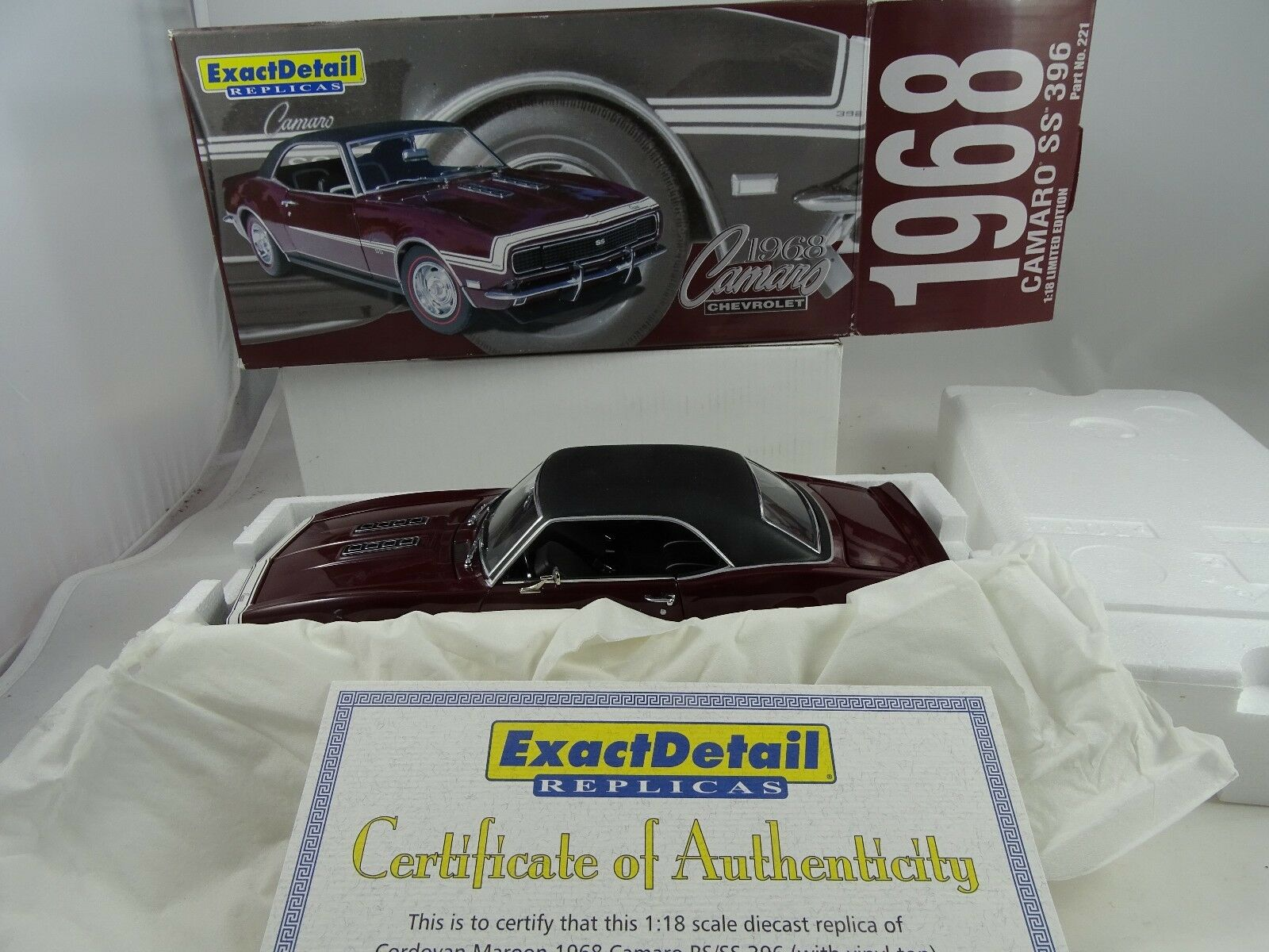 1 18 Exact Detail  221c Hard Top 1968 Chevrolet Camaro SS 396 BORDEAUX RARE §