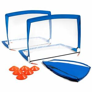 Training Equipment Pair of 4 Foot Pop Up Soccer Goals with Disc Cones, Blue